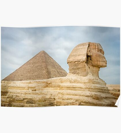The Sphinx and Pyramid of Khufu Poster