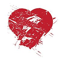 Hand drawn red heart Photographic Print