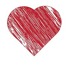 Hand drawn red heart 3 Photographic Print
