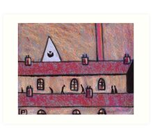 Church spire chimneys Roofs and People Art Print
