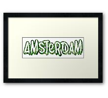 Amsterdam Weed Leaf Graffiti Outline Framed Print