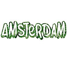 Amsterdam Weed Leaf Graffiti Outline Photographic Print