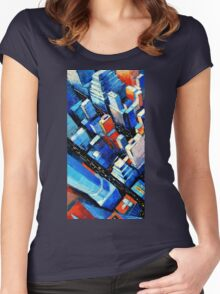 Abstract New York Sky View Women's Fitted Scoop T-Shirt