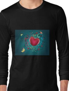 Heart with Floral and Butterflies Long Sleeve T-Shirt