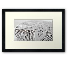 flower on lace doily Framed Print