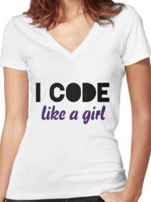 I code like a girl Women's Fitted V-Neck T-Shirt