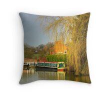 Narrowboat moored at locks Throw Pillow