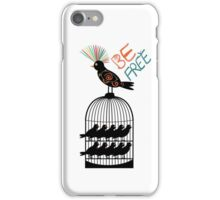 Be free - colourful bird out of cage iPhone Case/Skin
