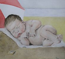 Baby on the beach by Astrid de Cock