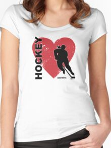 Love Hockey Heart Women's Fitted Scoop T-Shirt