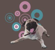 Retro Circles Pug Vector by doonidesigns