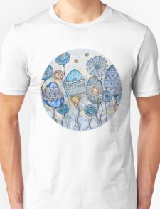 Winter flowers.Hand draw  ink and pen, Watercolor, on textured paper Unisex T-Shirt