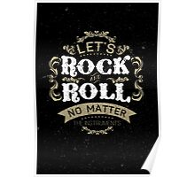 Let's Rock and Roll typography quote  Poster