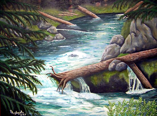 Headwaters, Rogue River oil painting by Barbara Anne Applegate by Barbara Applegate