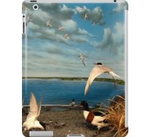 Natural environment diorama - birds flying on the shore of a pond  iPad Case/Skin