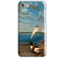 Natural environment diorama - birds flying on the shore of a pond  iPhone Case/Skin