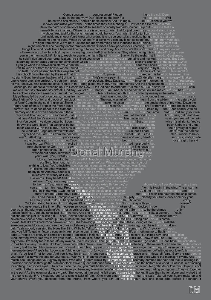 Bob Dylan Lyric Portrait by Donal Murphy