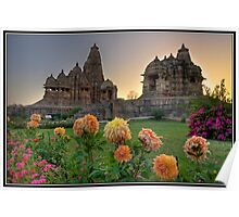 Khajuraho temples at sunset Poster