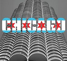 Marina Tower Chicago with Chicago Text and Flag by gurso27