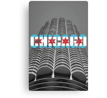 Marina Tower Chicago with Chicago Text and Flag Canvas Print