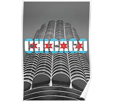 Marina Tower Chicago with Chicago Text and Flag Poster