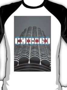 Marina Tower Chicago with Chicago Text and Flag T-Shirt