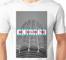 Marina Tower Chicago with Chicago Text and Flag Unisex T-Shirt