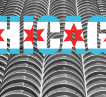 Marina Tower Chicago with Chicago Text and Flag Sticker