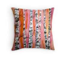birch tree watercolor painting Throw Pillow