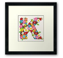 Spring Flowers Alphabet K Monogram T-shirt Framed Print