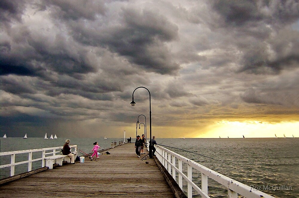 Dusk on St Kilda Pier by Roz McQuillan