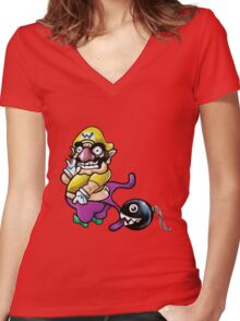 Wario Coppertone Ad Women's Fitted V-Neck T-Shirt