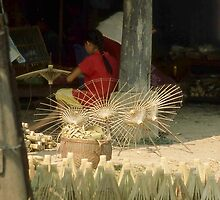 Making Paper Umbrellas. Chiang Mai. Thailand.  by Peter Stephenson
