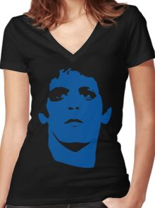 Lou Reed Blue Mask T Shirt Women's Fitted V-Neck T-Shirt