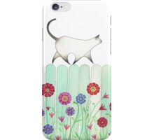 cat on picket fence iPhone Case/Skin