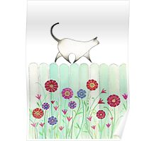 cat on picket fence Poster