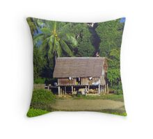 Farm house on the banks of Burma's Irrawaddy River Throw Pillow