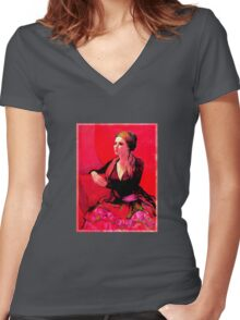 The Gypsy Skirt, oil painting Women's Fitted V-Neck T-Shirt
