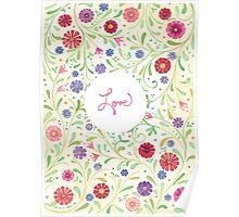 Bohemian Love Floral Poster