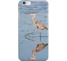Hunting Great Blue Heron Reflected iPhone Case/Skin