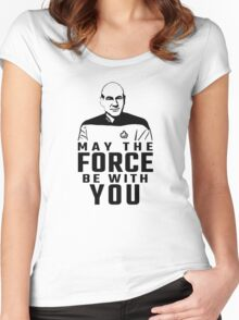 """Jean Luc Picard - """"May The Force Be With You"""" Women's Fitted Scoop T-Shirt"""