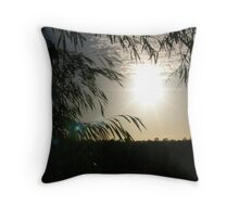 Peeking Through The Trees At A Height. Throw Pillow