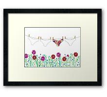 laundry line flowers Framed Print