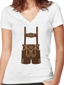 Leather trousers Women's Fitted V-Neck T-Shirt