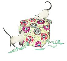 two cats with a gift box by laneykate