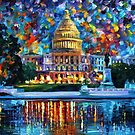 Capitol At Night Washington — Buy Now Link - www.etsy.com/listing/172677574 by Leonid  Afremov