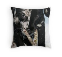 The Puppy Chronichles - Lily in the Snow Throw Pillow