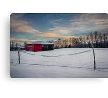 Horse barn in the winter - Janvier Canvas Print
