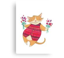 Cute Cat with Flowers Illustration Canvas Print