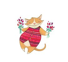 Cute Cat with Flowers Illustration Photographic Print